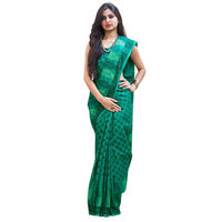 Aqua Herb Block Printed Cotton Saree