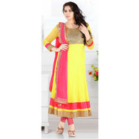 Neon Yellow Net Anarkali With Net Dupatta