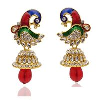 Kriaa Multicolor Austrian Stone Peacock Design Kundan Earrings