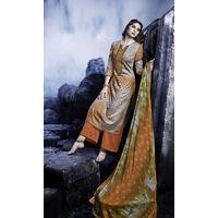 Designer Orange Embroidered Satin Suit