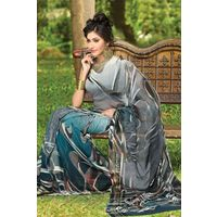Grey Georgette Saree with Printed Pallu