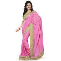Pink Jacquard Designer Embroidered Saree