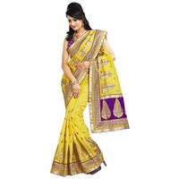 Yellow & Purple Chanderi Cotton Saree