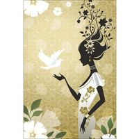 Painting Woman With Beautiful Floral Design