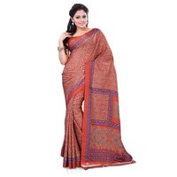 Orange Crepe Printed Saree