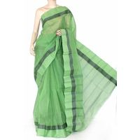 Green Bengali Tant Saree