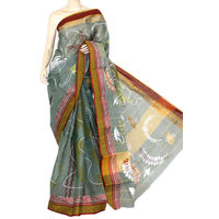 Grey Maroon Yellow Bengali Tant Saree