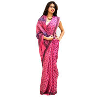 Rose Ink Block Printed Cotton Saree