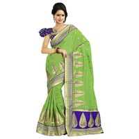 Green & Blue Chanderi Cotton Saree