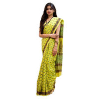 Lemon Flower Block Printed Cotton Saree