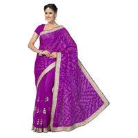 Gorgeous Raani Pink Designer Jacquard, Chiffon Saree