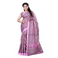 Pink & Beige Crepe Printed Saree
