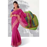 Pink Weaved Pure Silk Saree