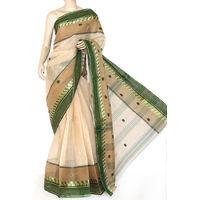 Beige-Green Bengali Tant Saree