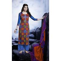 Designer Blue Embroidered Satin Suit
