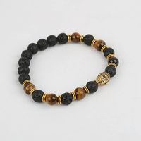 Lava and Tigers Eye with Buddha Luck Charm