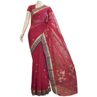Maroon Cotton Jamdani Saree