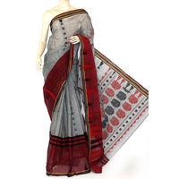 Grey-Maroon Bengali Tant Saree