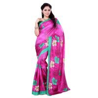 Green & Pink Crepe Printed Saree