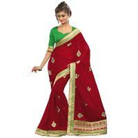 Red Pure Poly Georgette Embroidery Saree