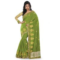 Green Chanderi Silk Embroidered Saree