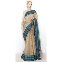 Fawn Bengali Tant Saree