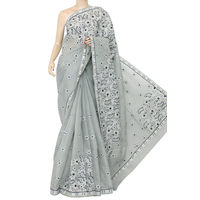 Grey Lucknowi Chikankari Saree