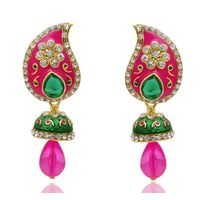 Kriaa Paisley Design Austrian Stone Jhumki Style Meenakari Earrings in Pink