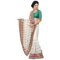 White & Green Chiffon Embroidered Saree