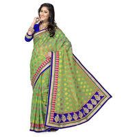 Beautiful Green and Violet Designer Banarasi Saree