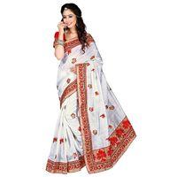 White Bhagalpuri Silk Embroidered Saree