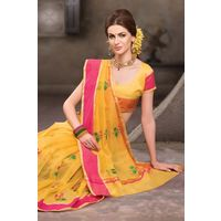 Yellow Weaved Cot Silk Saree