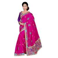 Pink Chanderi Silk Embroidered Saree