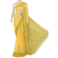 Light Yellow Lucknowi Chikankari Saree
