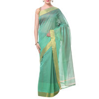Aquatic Green Lines With Border Tussar Silk Saree