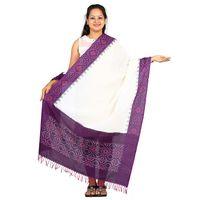 Purple and White Ikat Cotton Dupatta