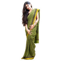 Earthly Olive Block Printed Cotton Saree