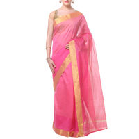 Pink Lines With Border Tussar Silk Saree