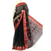 Black-Red Bengali Tant Saree