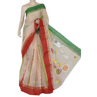 Beige Green Red Bengali Tant Saree
