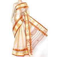 Red-Yellow Bengali Tant Saree