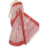 Off-White Red Bengali Tant Saree