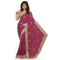 Purple Chiffon Designer Embroidered Saree
