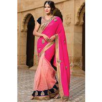 Pink Thread Worked Net & Georgette Saree