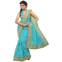 Light Blue Bhagalpuri Silk Embroidery Saree