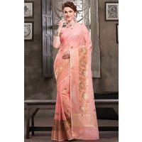 Light Pink Weaved Cot Silk Saree