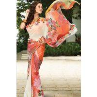 Orange Georgette Saree with Printed Pallu
