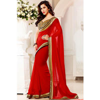 Red Georgette Saree With Black Raw Silk Blouse