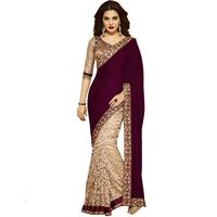 Purple Velevet Designer Embroidered Saree