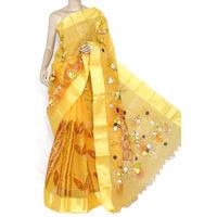 Yellow Bengali Tant Saree